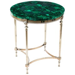 Antique French Art Deco Malachite Occasional Table, 1920s