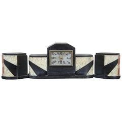 Antique French Art Deco Marble Garniture Set Mantel Clock Bookends Desk