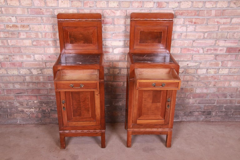 Antique French Art Deco Marble Top Mahogany Nightstands, circa 1920s For Sale 5