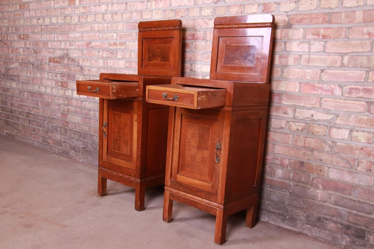 Antique French Art Deco Marble Top Mahogany Nightstands, circa 1920s For Sale 6