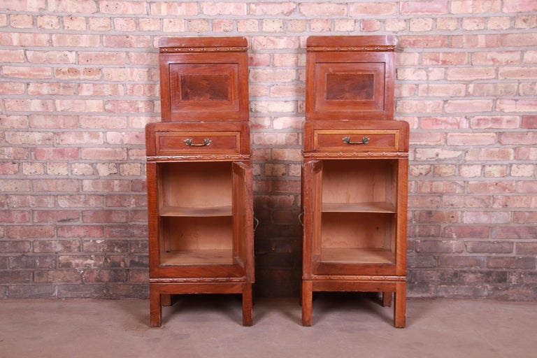 Antique French Art Deco Marble Top Mahogany Nightstands, circa 1920s For Sale 10