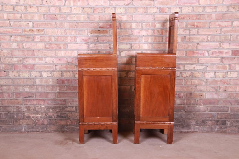 Antique French Art Deco Marble Top Mahogany Nightstands, circa 1920s For Sale 11
