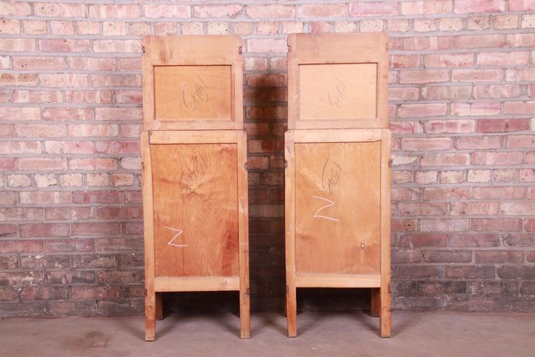 Antique French Art Deco Marble Top Mahogany Nightstands, circa 1920s For Sale 12