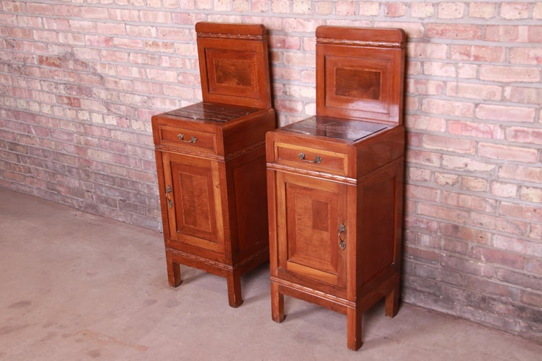 Antique French Art Deco Marble Top Mahogany Nightstands, circa 1920s In Good Condition For Sale In South Bend, IN