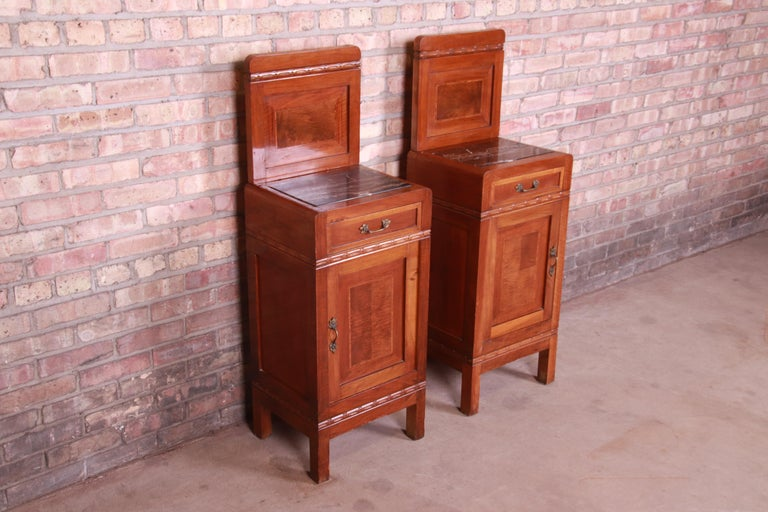 Brass Antique French Art Deco Marble Top Mahogany Nightstands, circa 1920s For Sale