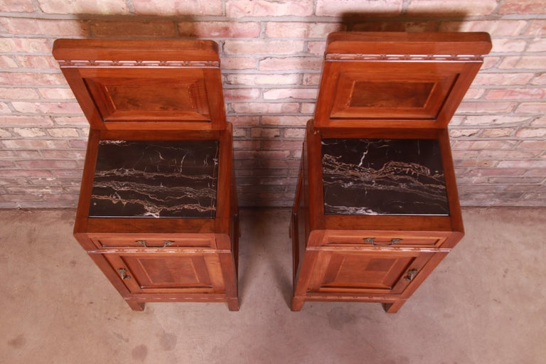 Antique French Art Deco Marble Top Mahogany Nightstands, circa 1920s For Sale 2