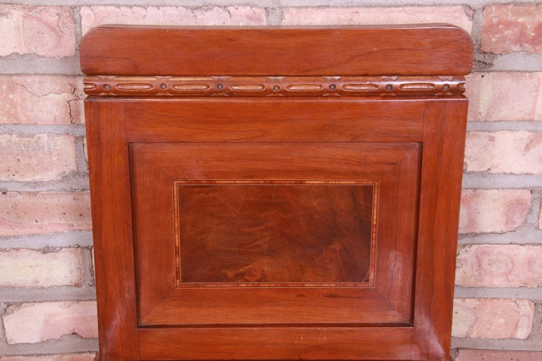 Antique French Art Deco Marble Top Mahogany Nightstands, circa 1920s For Sale 4