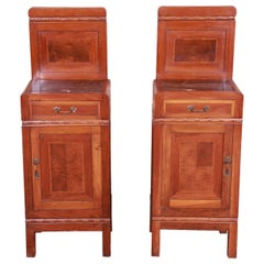 Antique French Art Deco Marble Top Mahogany Nightstands, circa 1920s