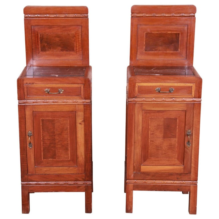 Antique French Art Deco Marble Top Mahogany Nightstands, circa 1920s For Sale