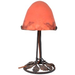 Antique French Art Deco 'Mushroom' Edgar Brandt Wrought Iron Daum Table Lamp