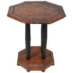 Antique French Art Deco Octagonal Brown Leather Studded Bistro Side Table