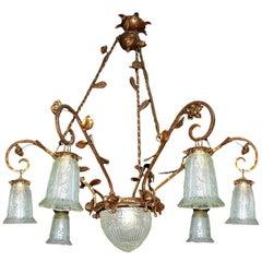 Antique French Art Deco or Art Nouveau Gilt Forged Iron Large Chandelier