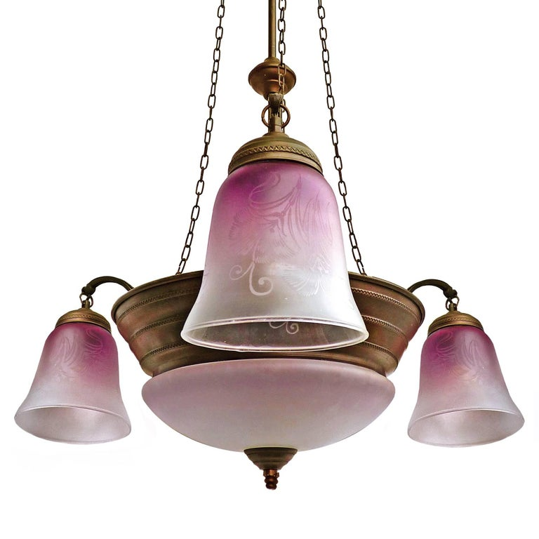 Antique French Art Deco or Art Nouveau Lila/Pink Etched Glass Hanging Chandelier