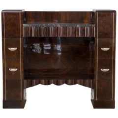 Antique French Art Deco Rosewood Sideboard with Marble Top from the 1920s