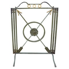 Antique French Art Deco Wrought Iron Fireplace Screen with Arrows, circa 1930