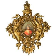 Antique French Art Nouveau Brass Frame Miniature Handpainted Portrait