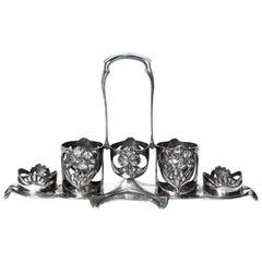 Antique French Art Nouveau Christofle Gallia Silver Plated Condiment Set