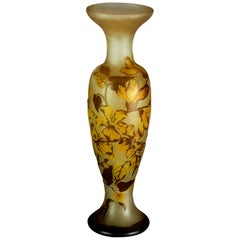 Antique French Art Nouveau Daum Nancy Cameo Cut Back Art Glass Vase, c1900