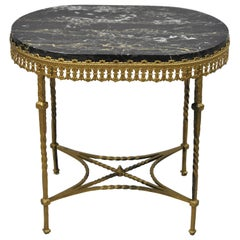 Antique French Art Nouveau Deco Oval Marble-Top Wrought Iron Accent Side Table
