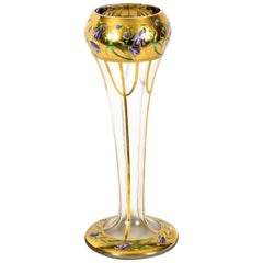 Antique French Art Nouveau Enameled Glass Vase, 19th Century