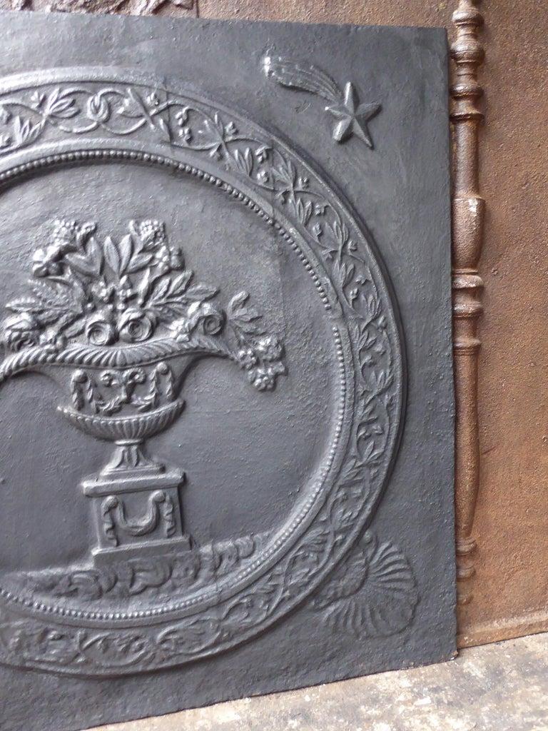 20th Century Antique French Art Nouveau 'Flower Basket' Fireback For Sale