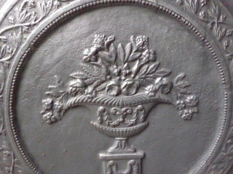 Iron Antique French Art Nouveau 'Flower Basket' Fireback For Sale