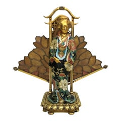 Antique French Art Nouveau Lamp, Kuan Xen Figure with Stained Glass, circa 1930
