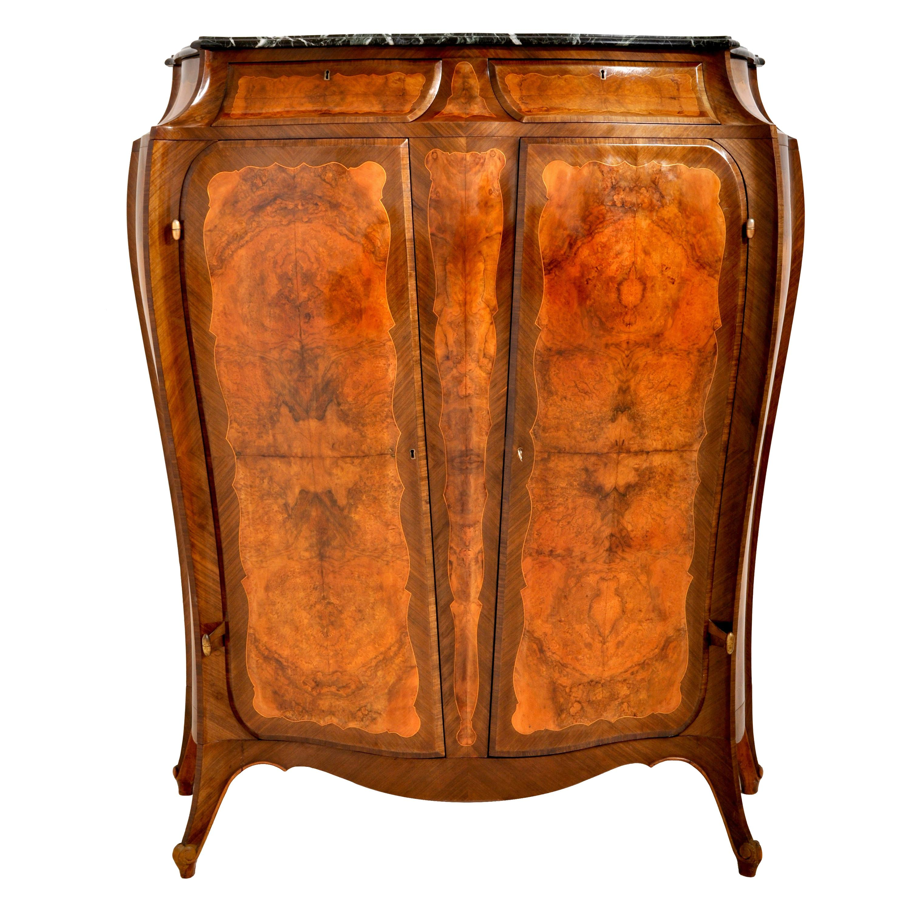 Antique French Art Nouveau Inlaid Walnut Tall Marble Top Cabinet, 1900