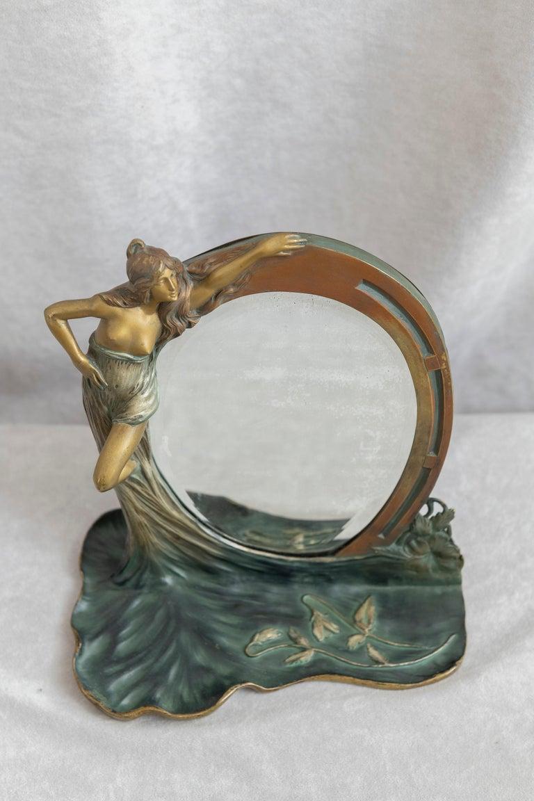 Antique French Art Nouveau Mirror w/ Maiden, ca.1900 For Sale 2