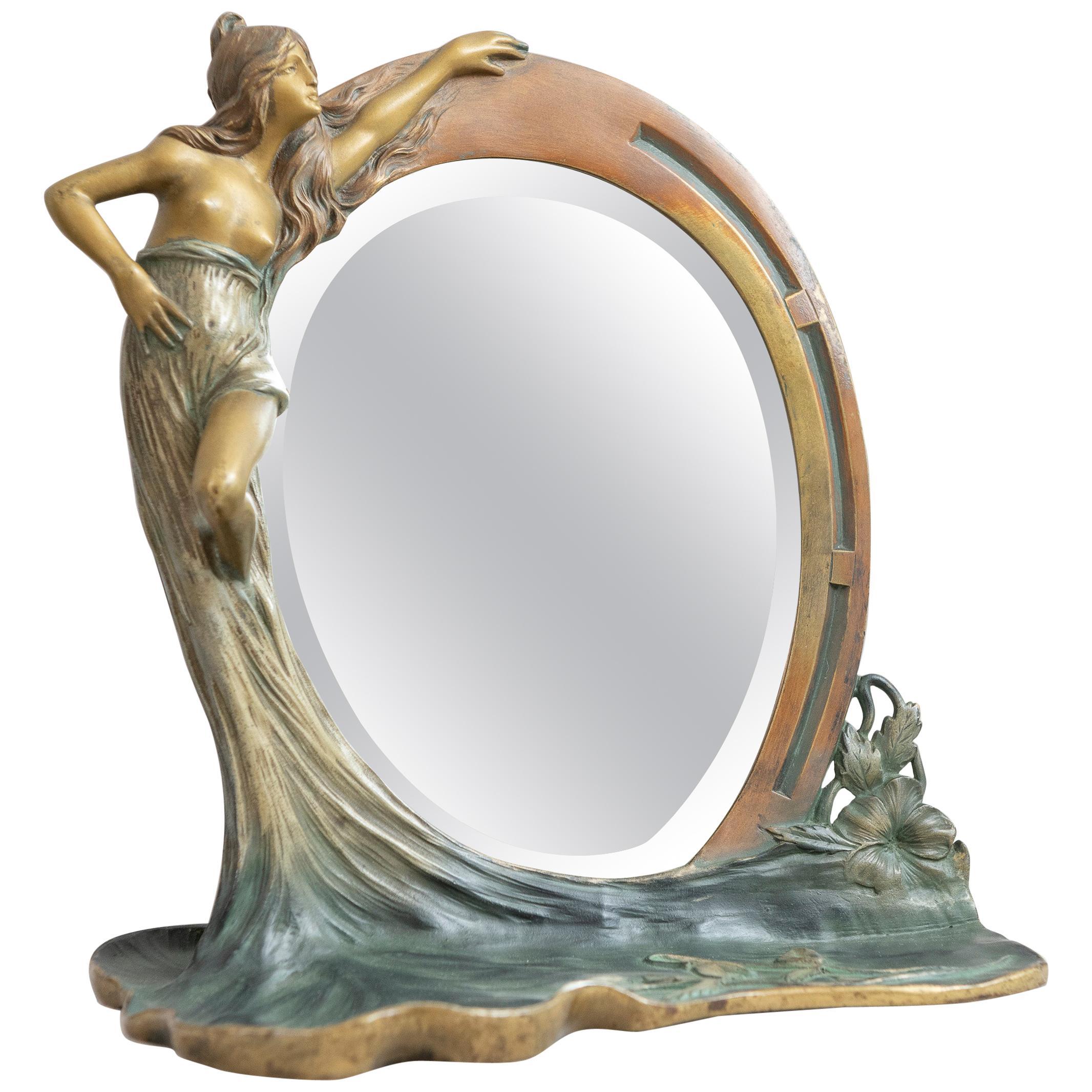 Antique French Art Nouveau Mirror w/ Maiden, ca.1900