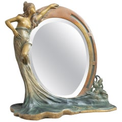 Antique French Art Nouveau Mirror w/ Maiden, ca.1900