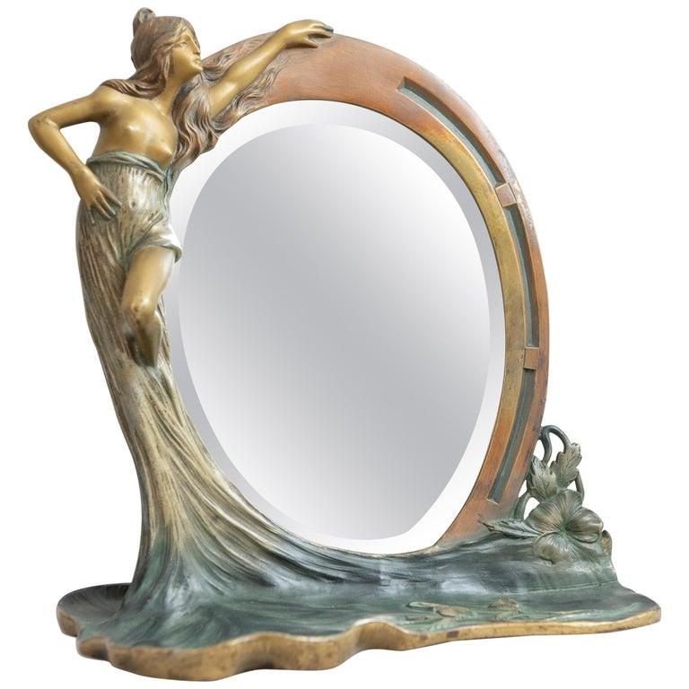 Antique French Art Nouveau Mirror w/ Maiden, ca.1900 For Sale