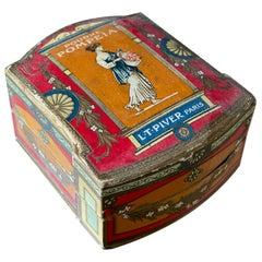 """Antique French Art Nouveau Paper Powder Box """"Poudre Lt Piver Pompeia"""""""
