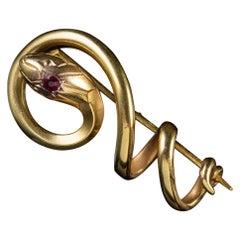 Antique French Art Nouveau Serpent Brooch Garnet 18ct Gold Circa 1900