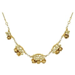 Antique French Art Nouveau Style Two-Tone Gold and Pearl Necklace