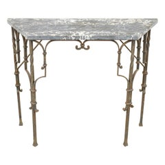 Antique French Art Nouveau Wrought Iron Marble Top Small Console Hall Table