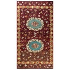 Antique French Aubusson Botanic Carpet