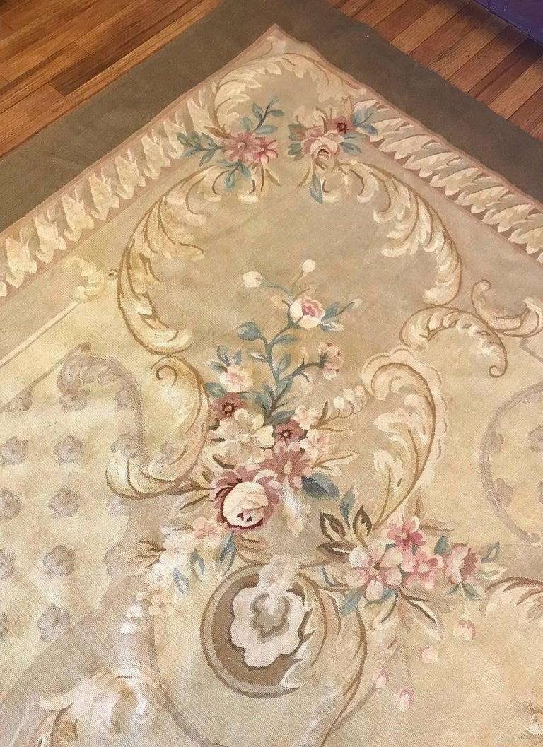 Antique French Aubusson Carpet For Sale 3