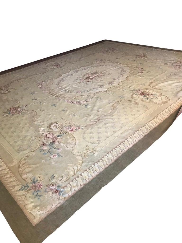 Romantic Antique French Aubusson Carpet For Sale