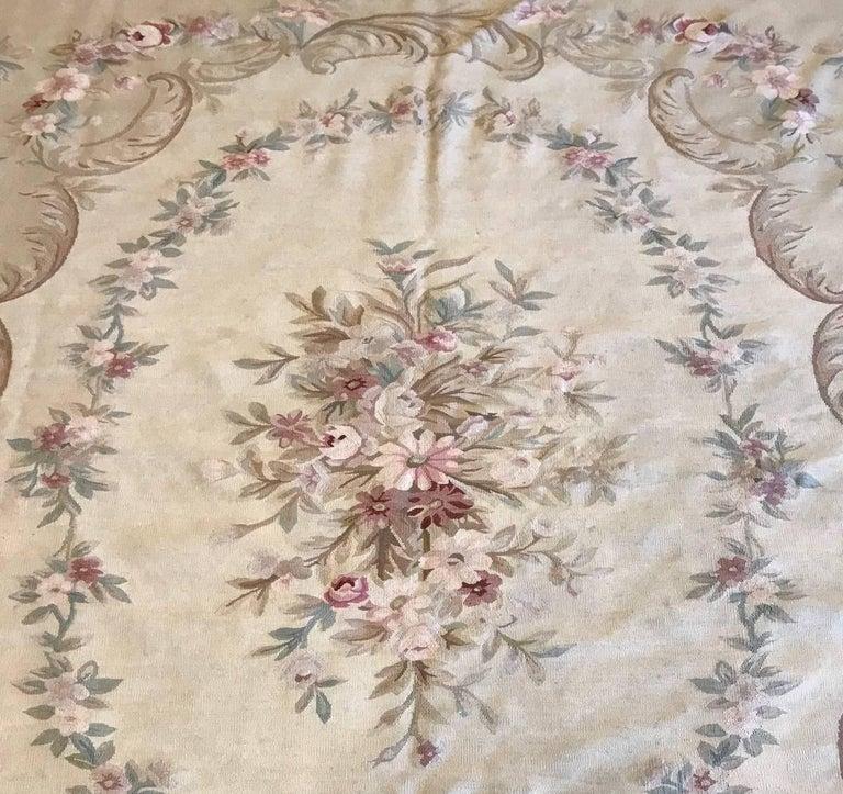 Antique French Aubusson Carpet For Sale 1