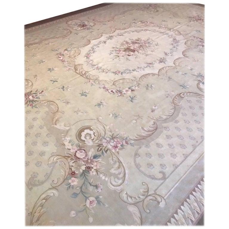 Antique French Aubusson Carpet For Sale