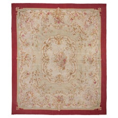 Antique French Aubusson Carpet, Ivory Field, Red Borders