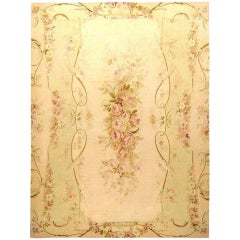 Antique French Aubusson Decorative Flat-Weave Rug, in Room Size & Floral Designs