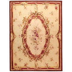 Antique French Aubusson Decorative Rug Flat-Weave Room Size with Large Medallion
