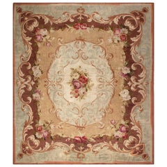 Antique French Aubusson Floral Handwoven Wool Rug