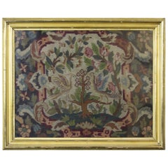 Antique French Aubusson Framed Needlepoint Tapestry Flowers and Doves