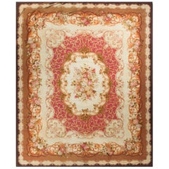 Antique French Aubusson Rug Carpet, circa 1890