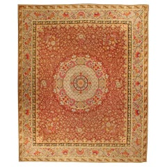 Antique French Aubusson Red Botanic Rug