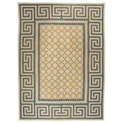 Antique French Aubusson Rug in Beige and Blue