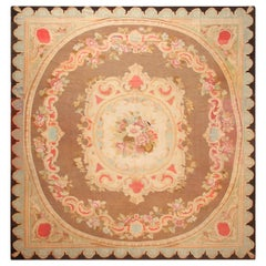 Antique French Aubusson Square Area Rug. 14 ft 8 in x 15 ft 2 in